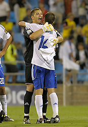 Argentinian goalkeeper Carrizo<br /> (Real Zaragoza) celebrates the victory with his team mate Gabi. Real Zaragoza v Tenerife 1-0 in La Romareda the first game of the 2009/2010 LA LIGA season, 29th August 2009