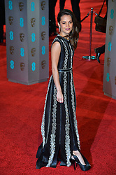© Licensed to London News Pictures. 14/02/2016.  London, UK. ALICIA VIKANDER arrives on the red carpet at the EE British Academy Film Awards 2016  Photo credit: Ray Tang/LNP