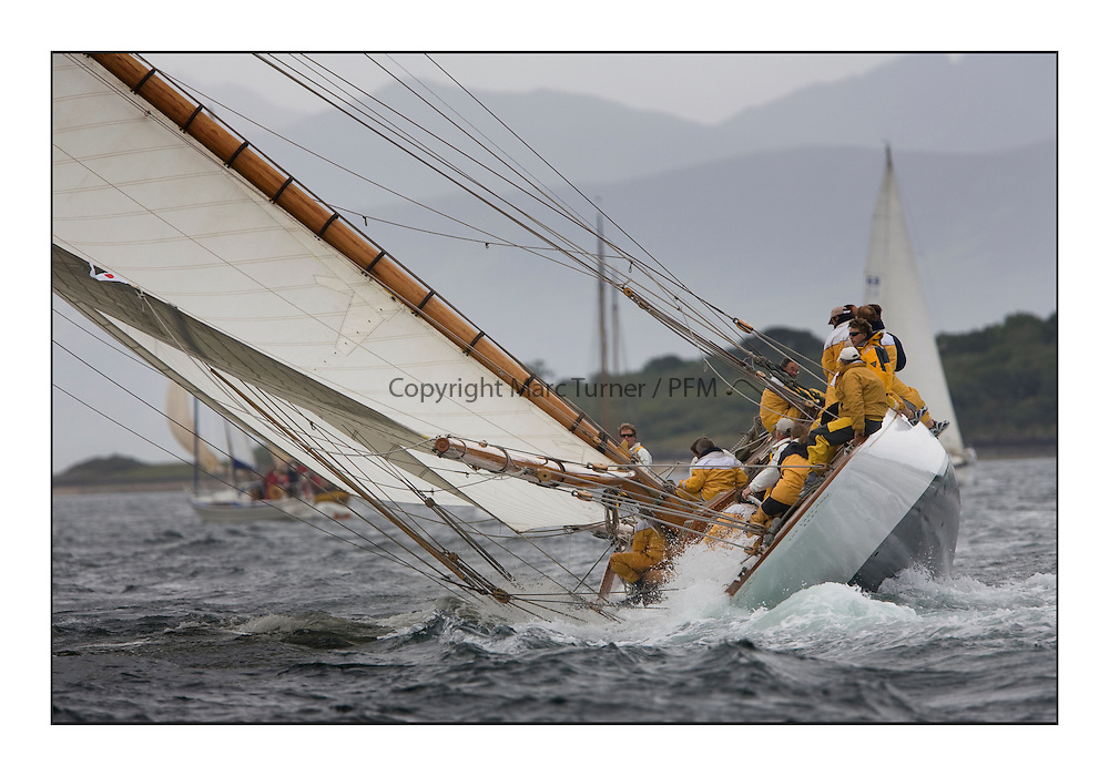 The Lady Anne 1912 a 15 metre..Mixed and bright conditions for the fleet as they race from Kames to Largs...* The Fife Yachts are one of the world's most prestigious group of Classic .yachts and this will be the third private regatta following the success of the 98, .and 03 events.  .A pilgrimage to their birthplace of these historic yachts, the 'Stradivarius' of .sail, from Scotland's pre-eminent yacht designer and builder, William Fife III, .on the Clyde 20th -27th June.   . ..More information is available on the website: www.fiferegatta.com . .Press office contact: 01475 689100         Lynda Melvin or Paul Jeffes