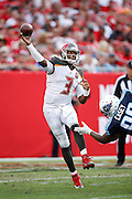 TAMPA, FL - SEPTEMBER 13: Jameis Winston #3 of the Tampa Bay Buccaneers passes against the Tennessee Titans at Raymond James Stadium on September 13, 2015 in Tampa, Florida. The Titans defeated the Bucs 42-14. (Photo by Joe Robbins)