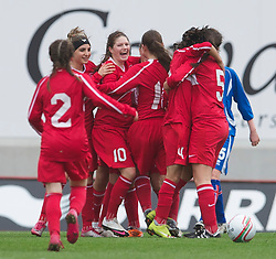 LLANELLI, WALES - Thursday, March 31, 2011: Turkey's Leyla Güngör celebrates scoring the first equalising goal against Iceland during the UEFA European Women's Under-19 Championship Second Qualifying Round (Group 3) match at Parc Y Scarlets. (Photo by David Rawcliffe/Propaganda)
