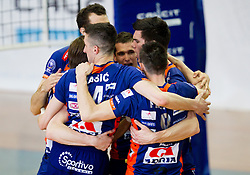 Players of ACH celebrate during volleyball match between Calcit Volleyball and ACH Volley in 4th Final Round of Radenska Classic League 2012/13 on April 16, 2013 in Arena Kamnik, Slovenia. (Photo By Vid Ponikvar / Sportida)
