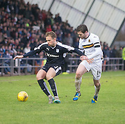 Dundee&rsquo;s Greg Stewart holds off Dumbarton&rsquo;s Darren Barr - Dumbarton v Dundee, William Hill Scottish Cup fifth round at The Cheaper Insurance Direct Stadium <br /> <br />  - &copy; David Young - www.davidyoungphoto.co.uk - email: davidyoungphoto@gmail.com