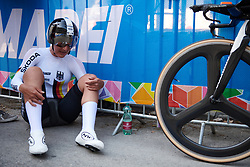 Lisa Brennauer (GER) recovers after the UCI Road World Championships 2018 - Elite Women's ITT, a 27.7 km individual time trial in Innsbruck, Austria on September 25, 2018. Photo by Sean Robinson/velofocus.com