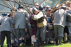 &copy; Licensed to London News Pictures. 07/05/2018. Newark, Nottinghamshire, UK. &zwnj;Over 300 civil war re-enactors descended on Newark during the early May Bank Holiday as the clock is turned back to the turbulent mid-17th century.<br /> The 4th Annual Pikes and Plunder Civil War Festival took place Monday 7th May with over a dozen regiments taking part alongside two artillery companies, a baggage train and scores of living history exponents making the 2018 Festival an even bigger spectacle than before.  Photo credit: Dave Warren/LNP