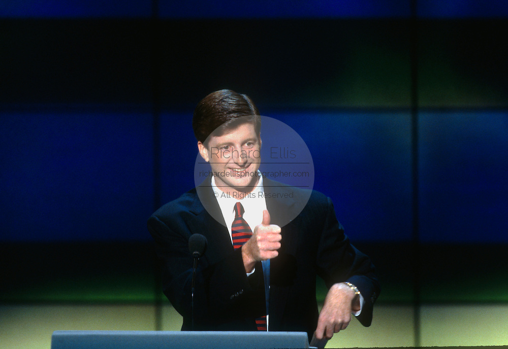 Rep. Patrick Kennedy gives a thumbs up after addressing the 1996 Democratic National Convention August 29, 1996 in Chicago, IL.