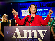 03 FEBRUARY 2020 - DES MOINES, IOWA: 03 FEBRUARY 2020 - DES MOINES, IOWA: US Senator AMY KLOBUCHAR (D-MN) makes a speech to the people who caucused for her during her caucus night party at the downtown Marriott Hotel in Des Moines. The party was her last Iowa appearance of the primary season. Iowans made the first presidential selection picks of the 2020 election campaign with the Iowa caucuses Monday night.   PHOTO BY JACK KURTZ    PHOTO BY JACK KURTZ