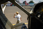 Jay preps for takeoff at Wilson Airfield in Nairobi.