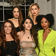 Lois Bowden,Claudia Sowaha, Tonique Campbell (F) Chloe Adlerstein and Lilly Douse (B) is a contestant attend The Bachelor UK 2019 launch night - The girls private screening on Channel 5 at Beach Blanket Babylon on 4 March 2019, London, UK
