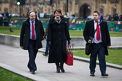© Licensed to London News Pictures. 21/02/2018. London, UK. DUP Leader ARLENE FOSTER (C) and DUP Deputy Leader NIGEL DODDS (L) on College Green after meeting with Prime Minister Theresa May. Photo credit: Rob Pinney/LNP