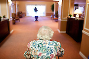 Jane Freeman, 90, is a resident in Heritage Palmeras, a luxurious apartment complex for the older residents in Sun City, Arizona August 2010. Mrss Freeman has lived in Sun City for 40 years. Her complex provides meals in a fancy dining area with waiters, housekeeping twice a week, an arts and crafts facility, a computer lab, a happy hour every Friday, as well as a gym, that she uses three times a week. .Mrs. Freeman has been instrumental in recording the history of Sun City. She saved hundreds of photos from being thrown away and cowrote Jubilee at the 25th Anniversary of Sun City in 1985...2010 marks the 50th anniversary of the United States' first planned retirement city. When Del Webb created Sun City and it opened in 1960, it was a revolutionary idea for retirees to move away from home and to live extremely active and social lifestyles..