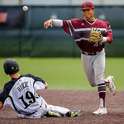 Texas Southern infielder Horace LeBlanc III (14) turns a double play as Alabama State catcher Chris Biocic (19) slides during the bottom of the first inning of the SWAC baseball championship final in New Orleans, La. Sunday, May 21, 2017.