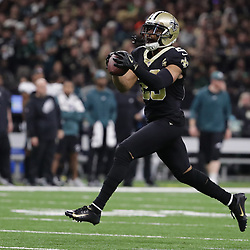 Jan 13, 2019; New Orleans, LA, USA; New Orleans Saints cornerback Marshon Lattimore (23) reacts after making an interception against the Philadelphia Eagles during the second quarter of a NFC Divisional playoff football game at Mercedes-Benz Superdome. Mandatory Credit: Derick E. Hingle-USA TODAY Sports