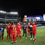 NEW YORK, NEW YORK - November 06:  Toronto FC players celebrate their win during the NYCFC Vs Toronto FC MLS playoff game at Yankee Stadium on November 06, 2016 in New York City. (Photo by Tim Clayton/Corbis via Getty Images)