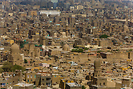 Egypt. Cairo - the old city, the mosques and minarets, the cemetery, view from the minarets of Suleiman Pasha mosque - 1528 - on the citadel of Mohammad Ali  Cairo +