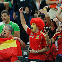 08 August 2012: Spain fans celebrate during 66-59 Team Spain victory over Team France, during the men's basketball quarter-finals, at the 02 Arena, in London, Great Britain.