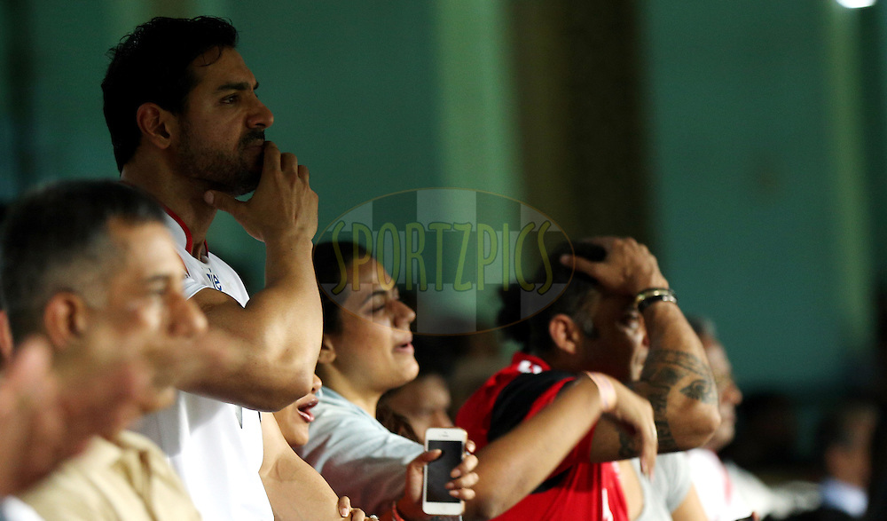 John Abraham , Actor and co-owner of NorthEast United FC City during match 49 of the Hero Indian Super League between Kerala Blasters FC and North East United FC held at the Jawaharlal Nehru Stadium, Kochi, India on the 4th December 2014.<br /> <br /> Photo by:  Sandeep Shetty/ ISL/ SPORTZPICS