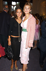Left to right, NATASHA LEONARD and GRACE HUGHES-HALLETT at a party to celebrate the publication of 'Princesses' the six daughters of George 111 by Flora Fraser held at the Saville Club, Brook Street, London W1 on 14th September 2004.<br />