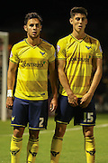 Oxford United defender, on loan from MK Dons, George Baldock and Oxford United midfielder Callum ODowda in a wall during the Sky Bet League 2 match between York City and Oxford United at Bootham Crescent, York, England on 29 September 2015. Photo by Simon Davies.