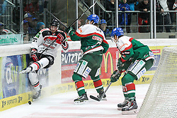 12.12.2014, Curt Fenzel Stadion, Augsburg, GER, DEL, Augsburger Panther vs Koelner Haie, 26. Runde, im Bild l-r: im Zweikampf, Aktion, mit Pascal Zerressen #27 (Koelner Haie) und Jeffery Woywitka #6 (Augsburger Panther), Philip Riefers #90 (Augsburger Panther) // during Germans DEL Icehockey League 26th round match between Augsburger Panther vs Koelner Haie at the Curt Fenzel Stadion in Augsburg, Germany on 2014/12/12. EXPA Pictures © 2014, PhotoCredit: EXPA/ Eibner-Pressefoto/ Kolbert<br /> <br /> *****ATTENTION - OUT of GER*****