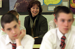 Feature on Jane Still, Deputy head at Rosemary Musker High School, Thetford, Norfolk..Jane with Year 9 science students..Photo by Andrew Parsons/i-Images.All Rights Reserved ©Andrew Parsons/i-images.See Instructions