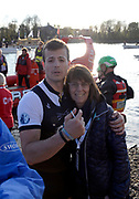 Putney/Mortlake, GREATER LONDON. United Kingdom. 2017 Women's and Men's University Boat Races, held over, The Championship Course, Putney to Mortlake on the River Thames. 2017 OUBC. winning, President, Michael DI SANTO. with Mum!.<br /> Sunday  02/04/2017, <br /> <br /> [Mandatory Credit; Intersport Images]