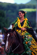 Pa'u rider in Kamehameha Day parade, Waimea, Island of Hawaii (editorial use only)<br />