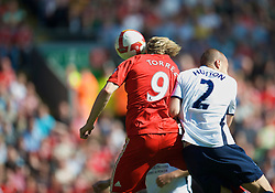 LIVERPOOL, ENGLAND - Sunday, May 24, 2009: Liverpool's Fernando Torres scores the opening goal against Tottenham Hotspur, his 50th goal for the Reds, during the Premiership match at Anfield. (Photo by: David Rawcliffe/Propaganda)