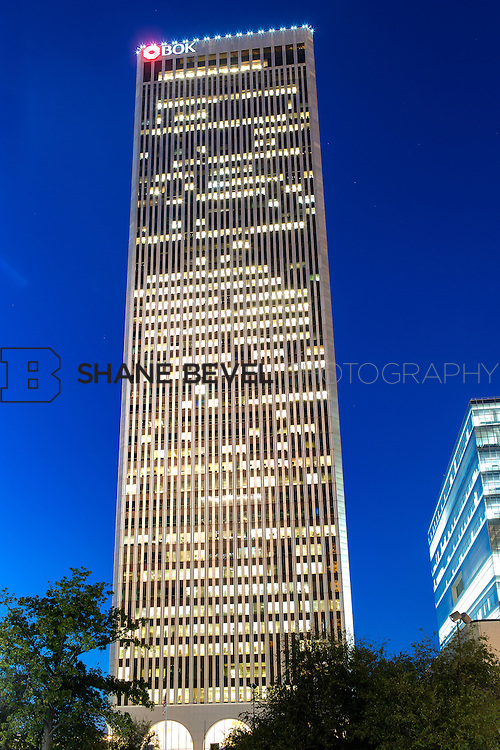 10/3/12 7:40:49 PM -- Exterior view of the BOK (Bank of Oklahoma) Tower in Tulsa, Okla. The tower was built in 1975 and designed by Minoru Yamasaki &amp; Associates, the same architect who designed the World Trade Center in New York. This structure is very similar to the WTC towers in appearance and construction.<br /> <br /> Photo by Shane Bevel