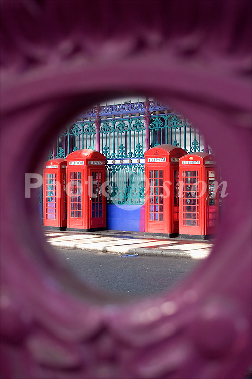 Red BT telephone boxes; Smithfield; London UK