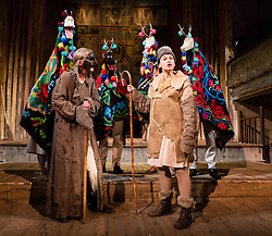 "© Licensed to London News Pictures. 20/03/2014. London, UK. Scene pictured: Goats with gypsy and shepherd. Wilton's Music Hall presents ""Father Nandru and The Wolves"" by Julian Garner, a Romanian fantasy about a Transylvanian village performed with puppets that tell a gypsy tale about wolves and forests. Father Nandru and The Wolves is Wilton's last full scale production before the final stage of repair works begin to the main building at Wilton's, which is the oldest surviving grand music hall in the world.Photo credit : Vickie Flores/LNP"