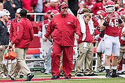 FAYETTEVILLE, AR - OCTOBER 24:  Head Coach Bret Bielema of the Arkansas Razorbacks on the sidelines during a game against the Auburn Tigers at Razorback Stadium on October 24, 2015 in Fayetteville, Arkansas.  The Razorbacks defeated the Tigers in 4 OT's 54-46.  (Photo by Wesley Hitt/Getty Images) *** Local Caption *** Bret Bielema