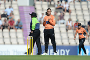 Suzie Bates of Southern Vipers celebrate the wicket of Chamari Athapaththu of Yorkshire Diamonds during the Women's Cricket Super League match between Southern Vipers and Yorkshire Diamonds at the Ageas Bowl, Southampton, United Kingdom on 8 August 2018.