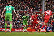 Liverpool midfielder James Milner with a run  during the Barclays Premier League match between Liverpool and Sunderland at Anfield, Liverpool, England on 6 February 2016. Photo by Simon Davies.