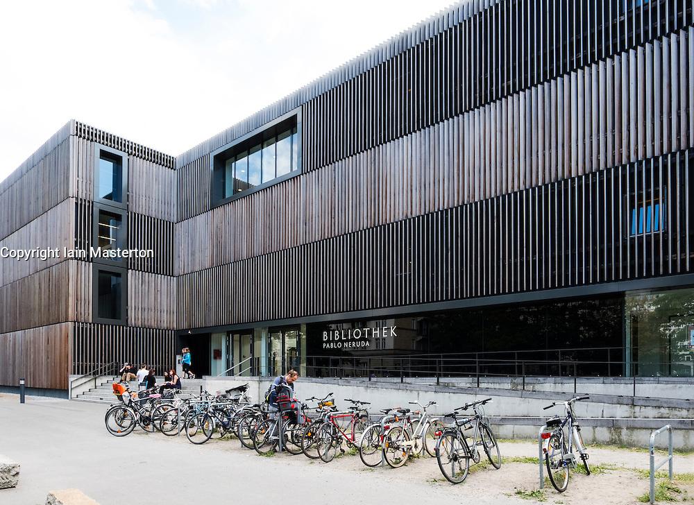 New wood clad modern Pablo Neruda Bibliothek public library in Friedrichshain district of Berlin Germany