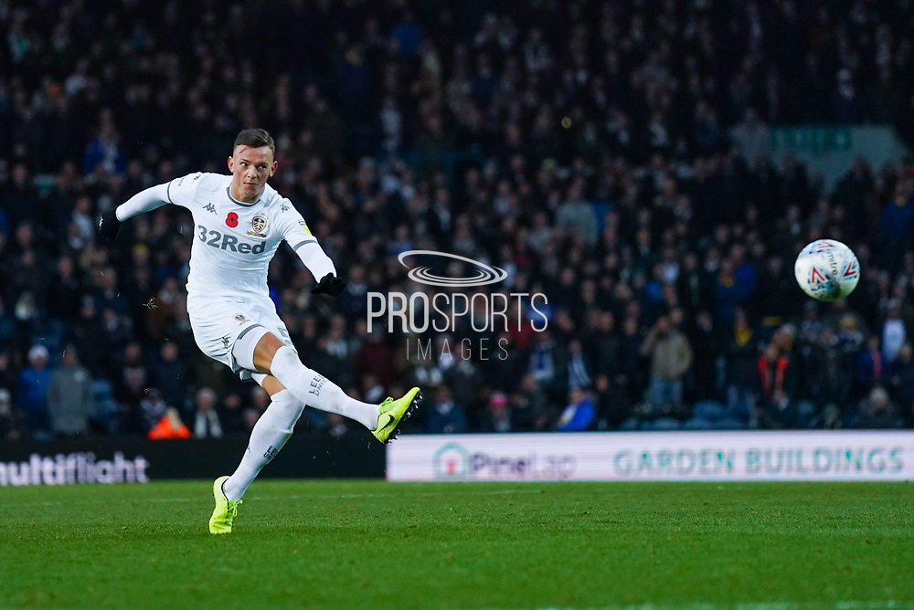 Leeds United defender Ben White (5) takes a shot during the EFL Sky Bet Championship match between Leeds United and Blackburn Rovers at Elland Road, Leeds, England on 9 November 2019.