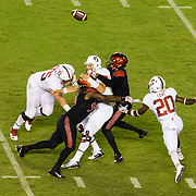 16September 2017: San Diego State Aztecs cornerback Kameron Kelly (7) sacks Stanford Cardinal quarterback Keller Chryst (10) and knocks the ball loose and is recovered by the Aztecs late in the second quarter. The Aztecs lead Stanford 10-7 at half time at San Diego Stadium. <br /> www.sdsuaztecphotos.com