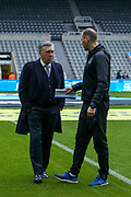 Everton manager Carlo Ancelotti and Everton coach Duncan Ferguson in discussion ahead of the Premier League match between Newcastle United and Everton at St. James's Park, Newcastle, England on 28 December 2019.