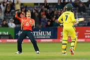 Wicket - Katherine Brunt of England celebrates taking the wicket of Rachael Haynes of Australia during the 3rd Vitality International T20 match between England Women Cricket and Australia Women at the Bristol County Ground, Bristol, United Kingdom on 31 July 2019.
