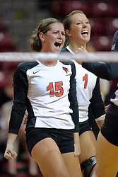 30 August 2011: Kristin Stauter gets fired up as the Redbirds score a point during an NCAA volleyball match between the Cougars of Southern Illinois Edwardsville and the Illinois State Redbirds at Redbird Arena in Normal Illinois.