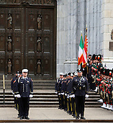 March 10, 2015 - New York, NY. Members of the NYPD and FDNY prepare to enter St. Patrick's Cathedral for former Cardinal Edward Egan's Funeral. <br />