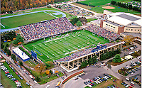 Aerial Photograph of the University of Delaware Blue Hen stadium during live game. Carpenter Center, track and field