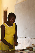Students use sticks as teacher learning materials in Esthers maths lesson at Tizza Primary School, Ghana.