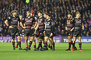 Edinburgh get a second to catch their breath during the European Rugby Challenge Cup match between Edinburgh Rugby and Stade Francais at Murrayfield Stadium, Edinburgh, Scotland on 12 January 2018. Photo by Kevin Murray.