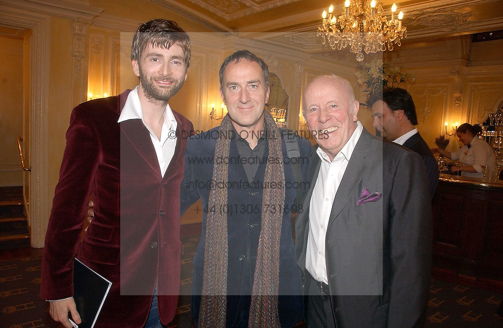Left to right, actor DAVID TENNANT, ANGUS DEAYTON he is the TV presenter and actor RICHARD WILSON at a gala evening preview of Noel Coward's play Hay Fever in aid of Masterclass at The Theatre Royal, Haymarket, London on 26th April 2006.<br />