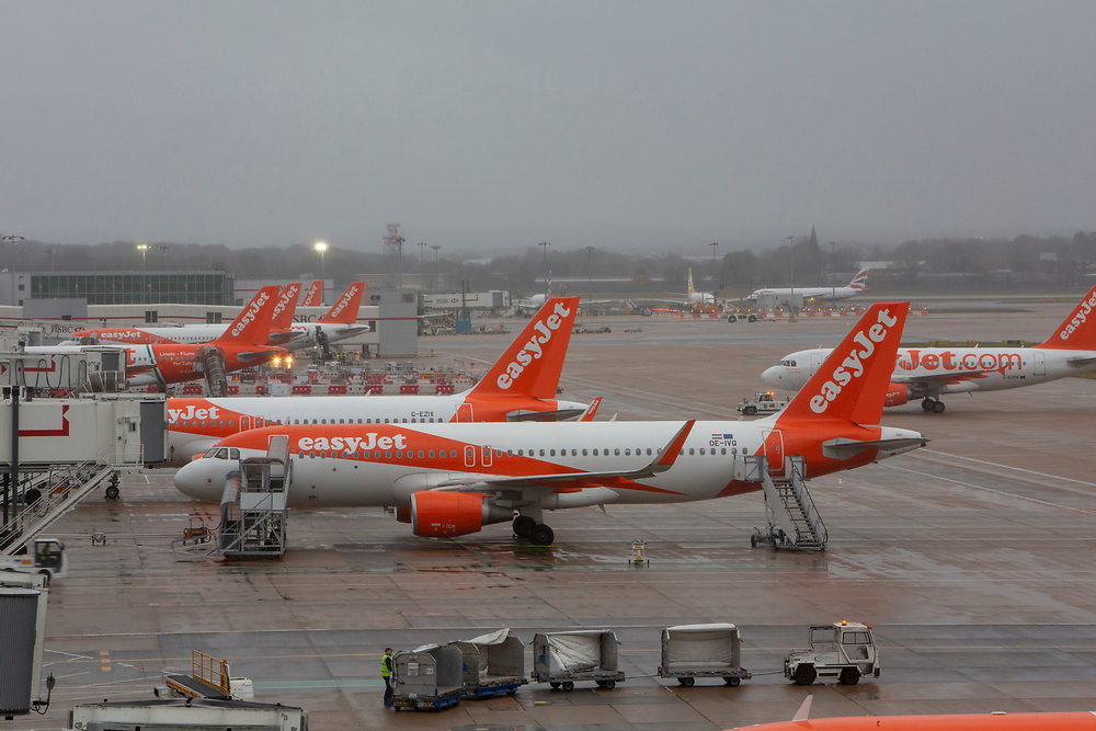 EasyJet Planes including an Airbus A320-214 (WL)  line up at the North terminal gates inside Gatwick Airport.  Gatwick Airport, Surrey, United Kingdom (photo by Andrew Aitchison / In pictures via Getty Images)