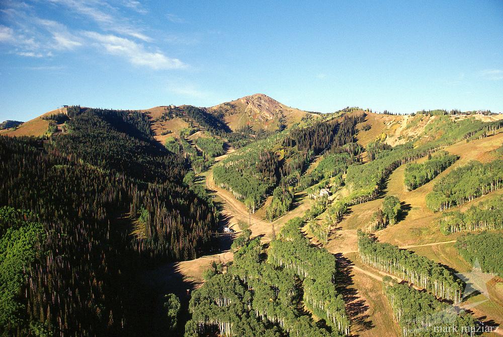 aerial view of Park City Mountain Resort and Jupiter Peak, Utah USA
