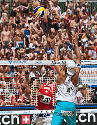 05.08.2011, Klagenfurt, Strandbad, AUT, Beachvolleyball World Tour Grand Slam 2011, im Bild Jefferson Bellaguarda SIU, Matthias Mellitzer AUT, EXPA Pictures © 2011, PhotoCredit EXPA Gert Steinthaler