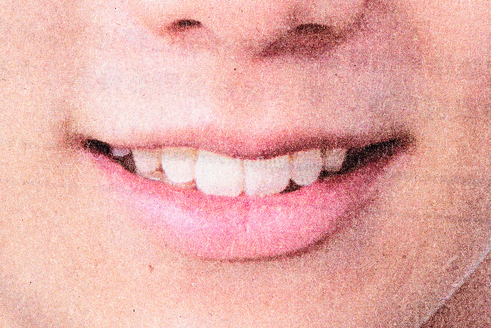 mouth with a natural lipstick close up from halftone print