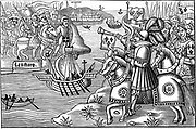 Saint Louis (Louis IX of France) disembarking at Carthage during his second (the Eighth) crusade 1270. Woodcut from 'Passaiges d'oultremer' 1518. Disease struck French camp soon after and Louis and his son Jean Tristran died.
